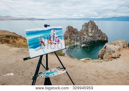 Shamanka Shamans Rock, Baikal, Russia - 15 Jule 2018 Lake Near Khuzhir At Olkhon Island In Siberia,