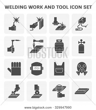 Welding Work And Welding Tool Icon Set For Welding Graphic Design Element.