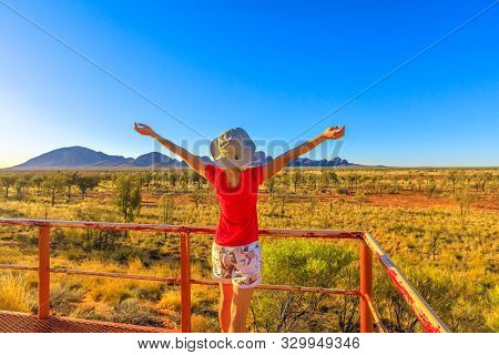Uluru, Northern Territory, Australia - Aug 24, 2019: Woman Enjoying From Platform Dune Area Enjoys M