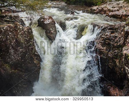 Waterfall In Glen Etive In The Glen Coe Area In Scotland