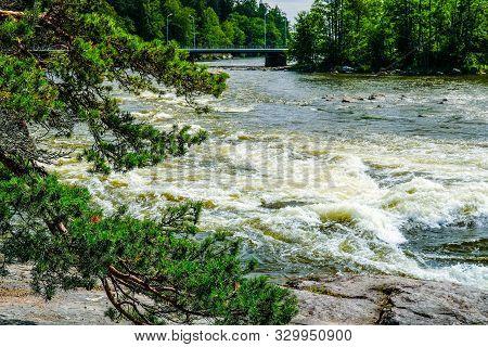 Finland, Kotka: Langinkoski Rapid On The Kumi Fast River In Kotka. Harsh Northern Nature, Place Wher