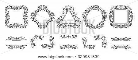 Text Frame, Monogram, Divider, Corner Set. Fancy Elegant Wedding Decor. Floral Ornament, Flower Elem