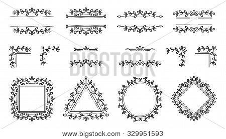 Text Frame, Monogram, Divider, Corner Set. Fancy Elegant Wedding Decor. Floral Ornament Leaves Eleme
