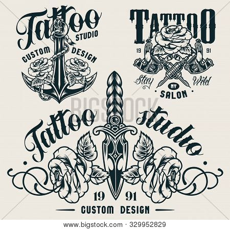 Vintage Tattoo Studio Monochrome Labels With Ship Anchor Crossed Tattoo Machines Dagger And Roses Is