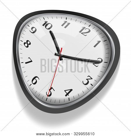 Melting Clock, Distorted Dial With Shadow Isolated On White. Based On Salvador Dali Persistance Of M