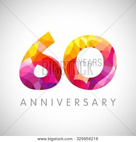 60 Th Anniversary Numbers. 60 Years Old Multicolored Logotype. Age Congrats, Congratulation Art Idea