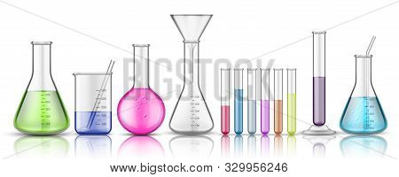 Set Of Isolated Glassware Flask Or Glass Bottle For Chemistry On Background. Test Tube For Chemical