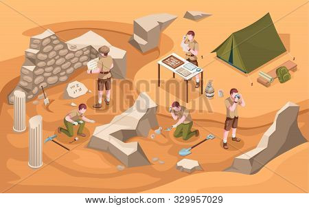 Archeology Isometric Excavation Or Archeologist At Work. Archaeology Job Or Archaeologist Near Ancie