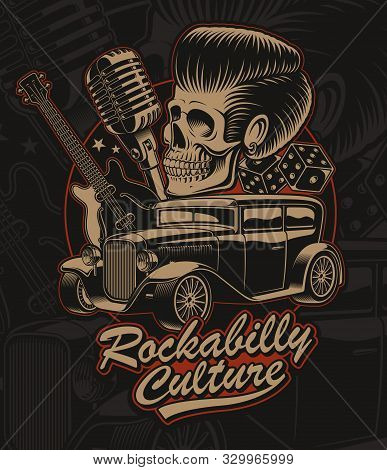 Vector Illustration Of A Skull  In Rockabilly Style.