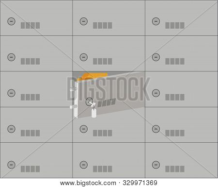Bank Office Interior: Room Depository With Deposit Safes.open  Cell With Gold Bars Inside Close Up.e