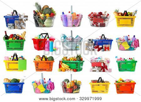 Set Of Shopping Baskets With Grocery Products, Gifts And Household Chemicals On White Background