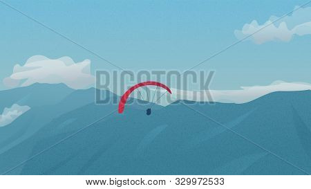 Paragliders Flying Over The Mountains. Paragliding In Sky. Vector Background With Mountains Landscap