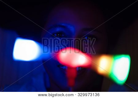 Young Woman Playing With Disco Party Lights At Night - Millennial Lifestyle Girl At Music Festival U