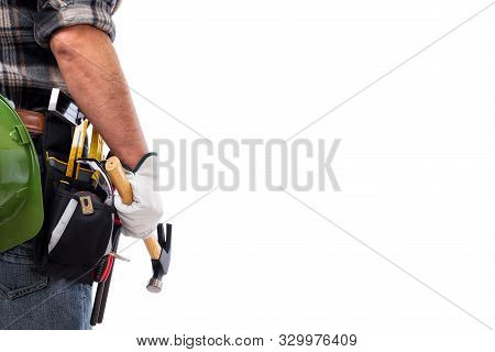 Rear View Of A Carpenter Isolated On A White Background, He Is Wearing Leather Work Gloves. Work Too