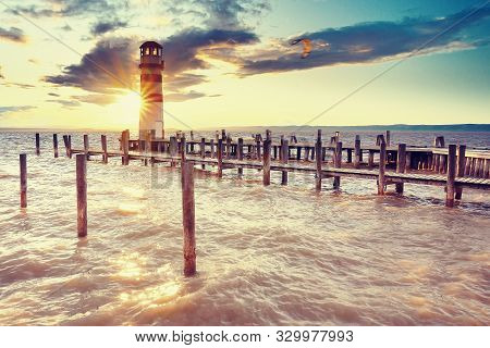 Autumn Evening At Lake Neusiedler See At The Austrian Border And The Villages Rust And Podersdorf Am