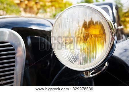 Close Up Of Old Head Lights On Rarity Car