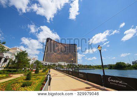 Boston, Usa - Jul 1, 2019: Encore Boston Harbor In City Of Everett, Boston, Massachusetts, Usa. This