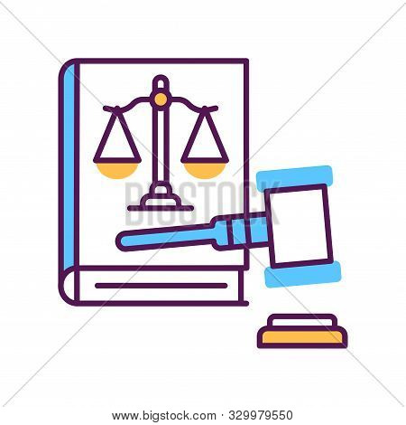 Lawsuit Line Color Icon. Judiciary Concept. Gavel, Scales Of Justice On Book Element.