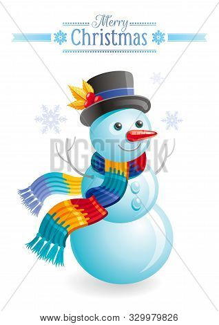 Snowman Christmas Card. Cartoon Snow Man In Hat And Scarf. Xmas Greeting Card With Snow Man. Vector