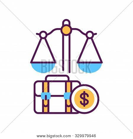 Arbitration Court Line Color Icon. Judiciary Concept. Employment Law Element. Sign For Web Page, Mob