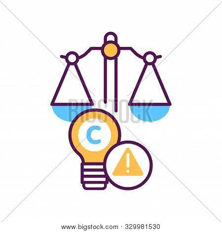 Arbitration Court Line Color Icon. Intellectual Property Infringement Concept. Copyright Law Element