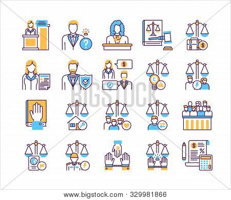 Law And Justice Line Color Icons Set. Type Of Court. Judiciary Concept.