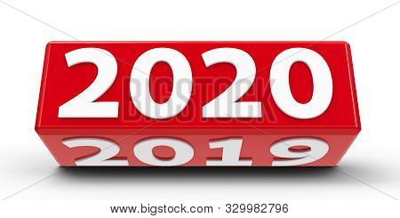 Red Cube (cuboid) With 2019-2020 Change On A White Table Represents The New 2020, Three-dimensional