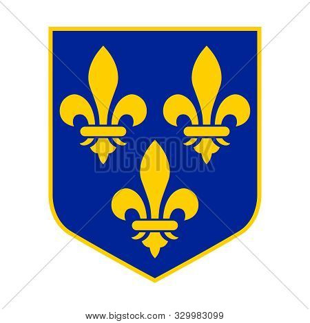 Historical Royal Coat Of Arms Of France. Lily - A Symbol Of The Bourbon Dynasty. Isolated Symbol Shi