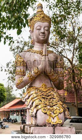 Ko Samui Island, Thailand - March 18, 2019: Wat Khunatam Buddhist Temple And Monastery. Pinkish Bodh