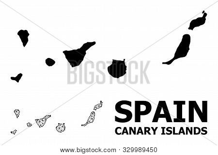 Solid And Mesh Vector Map Of Canary Islands. Wire Frame Flat Triangular Mesh In Eps Vector Format, G