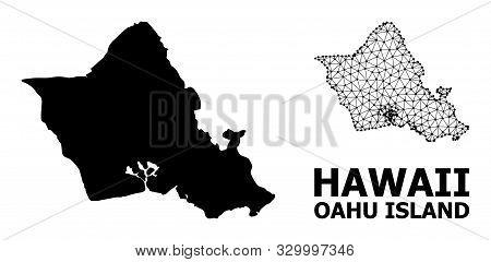 Solid And Mesh Vector Map Of Oahu Island. Wire Carcass 2d Triangular Mesh In Vector Format, Geograph
