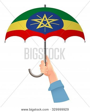 Ethiopia Flag. Hand Holding Umbrella. Social Security Concept. National Flag Of Ethiopia Vector Illu