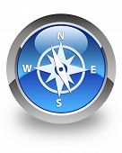 Compass icon on glossy blue round button poster