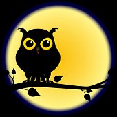 Dark shadow silhouette of an owl with yellow eyes perched on branch on a night with full moon perfect for halloween. poster