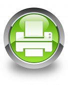 printer icon on glossy green round button poster