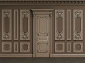 Classic interior wall with copy space.Classic wooden boiserie with gilded mouldings.Ornated cornice.Classic door.Floor parquet.Digital Illustration.3d rendering poster