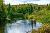 View of Riviere du Nord in Val-David, Laurentian Mountains, Quebec, Canada poster
