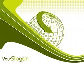 Professional Corporate or Business template for financial presentations showing globe in green color on wave background. EPS 10. Vector illustration. poster