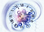 Artistic background for use with projects on scheduling temporal and time related processes deadlines progress past present and future made of gears clock elements dials and dynamic swirly lines poster