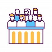 Jury trial line color icon. Courthouse concept. decision on a disputed issue in a civil or criminal case or an inquest. poster