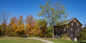 Colorful Fall Foliage And An Old Building In Rural Ontario