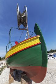 Newly Painted Fishing Boat On Dry Dock