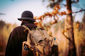 Young Guy With A Vintage Backpack In The Forest. Ukraine