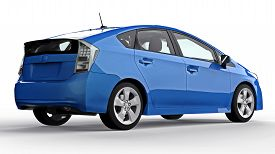 Modern Family Hybrid Blue Car On A White Background With A Shadow On The Ground. 3d Rendering.