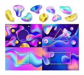 Liquid Abstract Vector Abstracted Color Backdrop Design Colorful Futuristic Fluid Splashes Illustrat