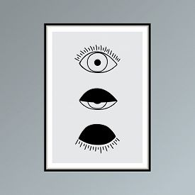 Cartoon Open, Winking And Closed Eyes Poster In Shades Of Gray For Interior Decor.