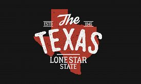 Texas State Logo. The Lone Star State. Usa Texas Vintage Emblem. Texas Flag Map With Stamp Effect. V