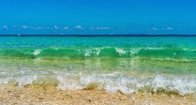 Tropical Ocean Seascape With Turquoise Water And Blue Sky. Thailand, Maiton Island