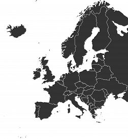 Modern European Continent With Countries Political Map Vector Illustration. Black Color. Europe Map.