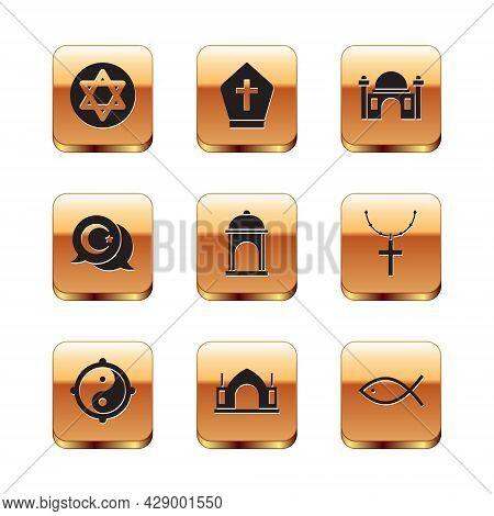 Set Star Of David, Yin Yang, Hindu Spiritual Temple, Muslim Mosque, And Crescent, Christian Fish And